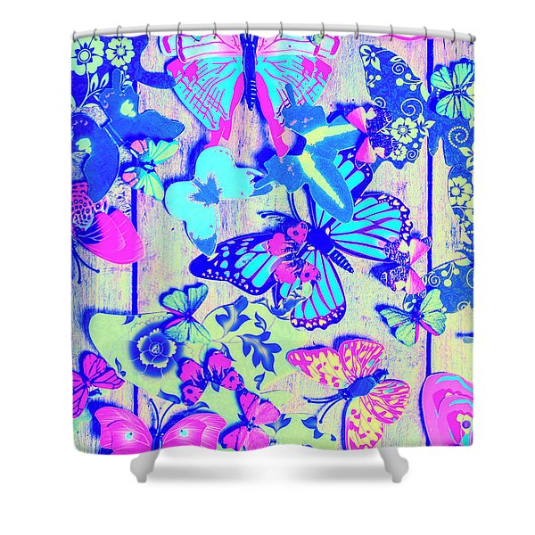 Pastel Wings And Button Butterflies Shower Curtain