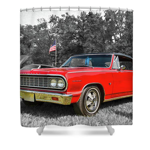 Patriotic 64 Chevy Chevelle Shower Curtain