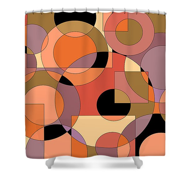 Peach Circle Abstract Shower Curtain