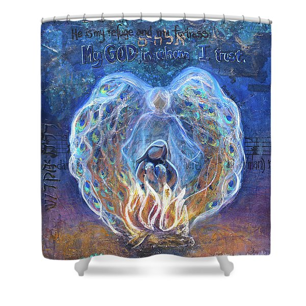Peacock Angel Shower Curtain