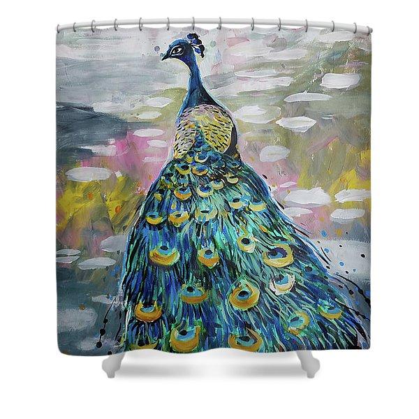 Peacock In Dappled Light Shower Curtain
