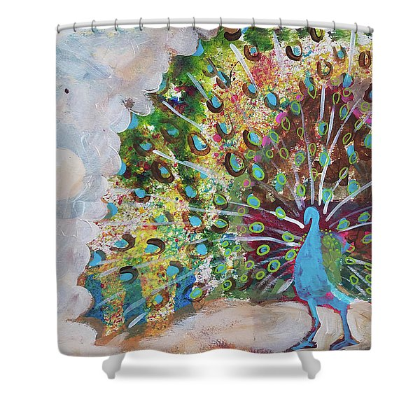 Peacock In Morning Mist Shower Curtain