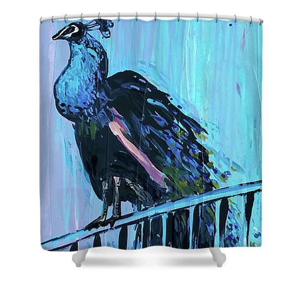 Peacock On A Fence Shower Curtain