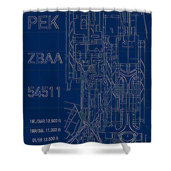 Pek Beijing Capital Airport Blueprint Shower Curtain
