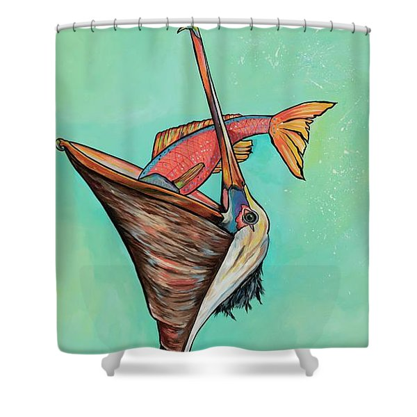 Pelican On The Edge Shower Curtain