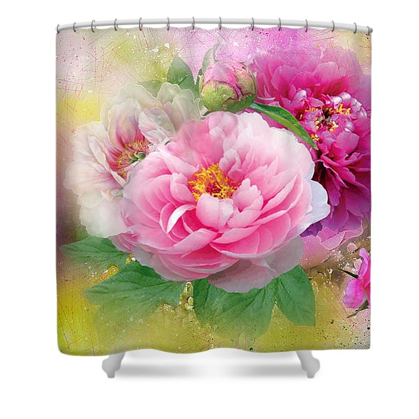 Peonies And Butterfly Shower Curtain