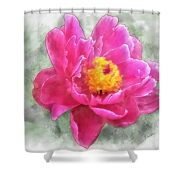 Peony And Bee Shower Curtain