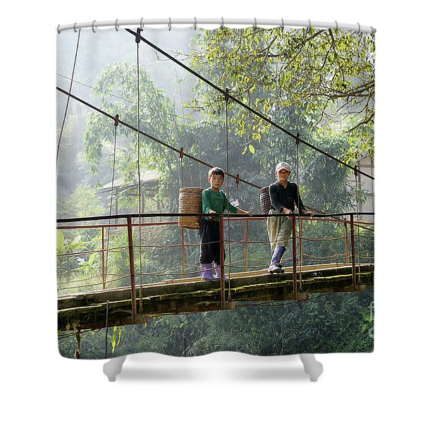 People And Children From Sapa, Mountainous Area Of Northern Vietnam In Their Daily Life. Shower Curtain