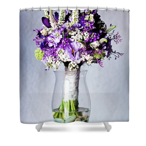 Perfect Bridal Bouquet For Colorful Wedding Day With Natural Flowers. Shower Curtain