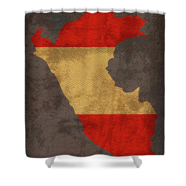 Peru Country Flag Map Shower Curtain