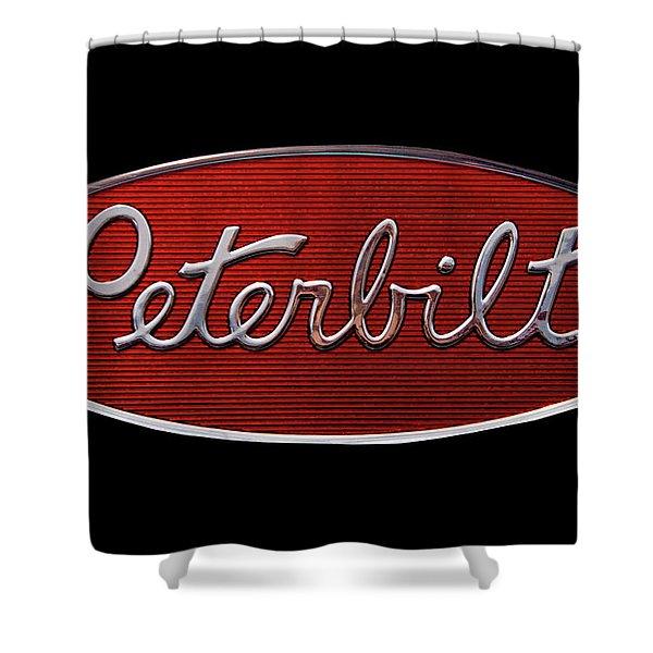 Peterbilt Emblem Black Shower Curtain