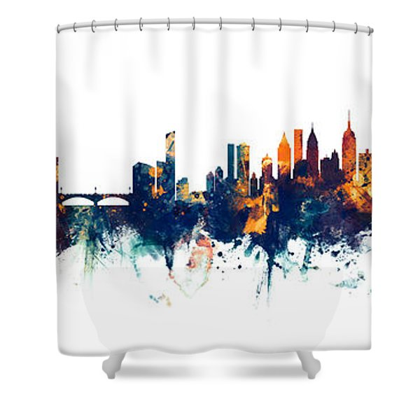 Philadelphia And New York City Skylines Mashup Shower Curtain