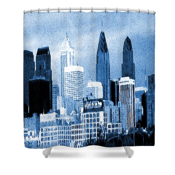 Philadelphia Blue - Watercolor Painting Shower Curtain