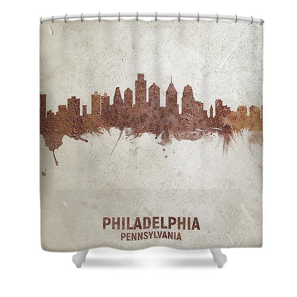 Philadelphia Pennsylvania Rust Skyline Shower Curtain