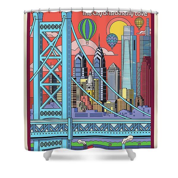Philadelphia Poster - Pop Art - Travel Shower Curtain