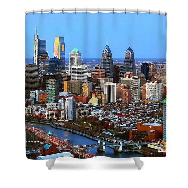 Philadelphia Skyline At Dusk 2018 Shower Curtain