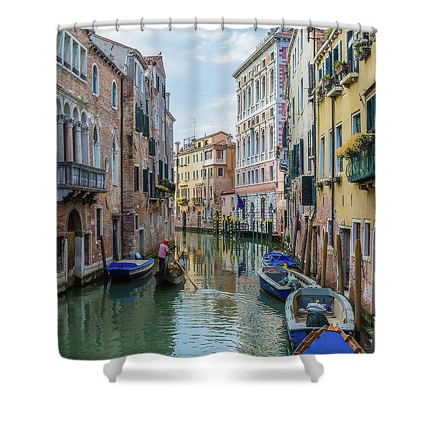 Gondolier On Canal Venice Italy Shower Curtain