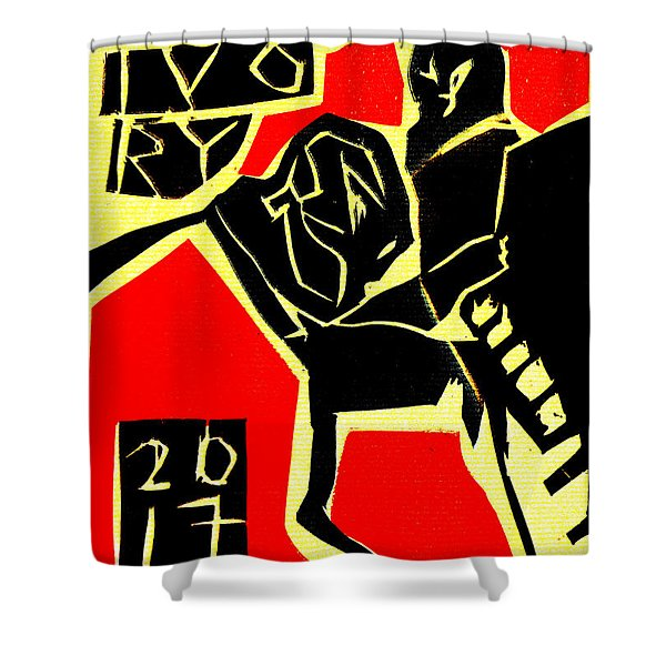Piano Player Black Ivory Woodcut Poster 31 Shower Curtain