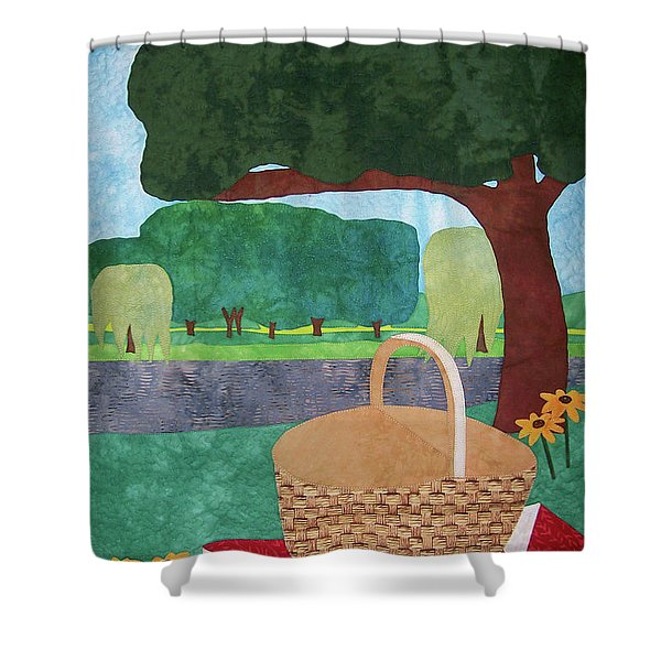 Picnic At Ellis Pond Shower Curtain
