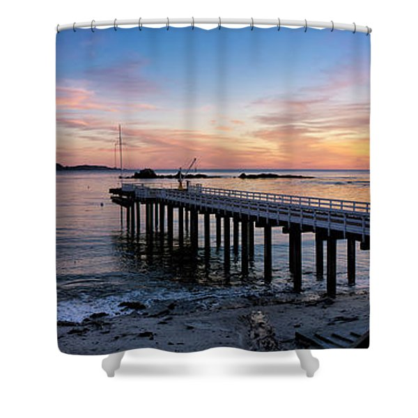 Pier And Sailboat At Sunset Shower Curtain