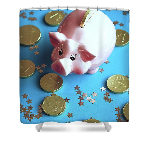 Piggy Bank On The Background With The  Chocoladen Coins Shower Curtain