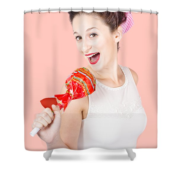Pin-up Girl Singing Into Large Lollypop Microphone Shower Curtain
