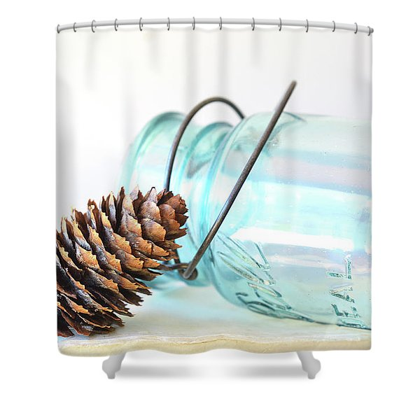 Shower Curtain featuring the photograph Pine Cone And A Jar by Michelle Wermuth