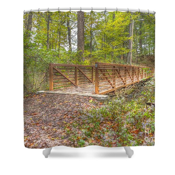 Pine Quarry Park Bridge Shower Curtain
