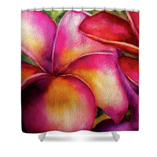 Pink And Red Plumerias Shower Curtain