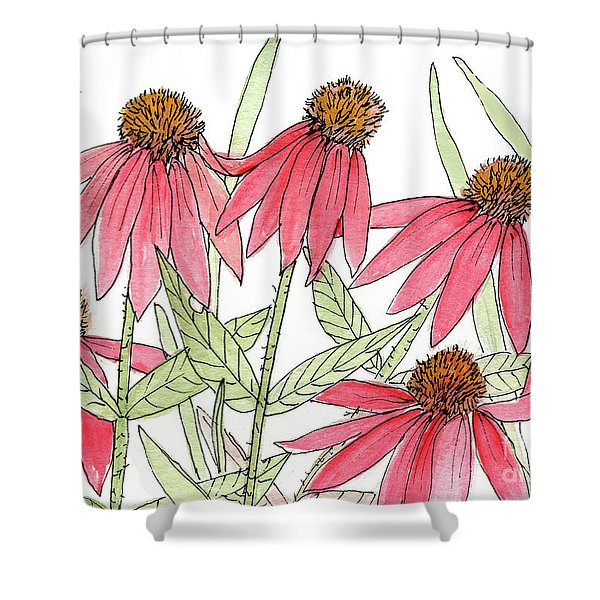 Pink Coneflowers Gather Watercolor Shower Curtain