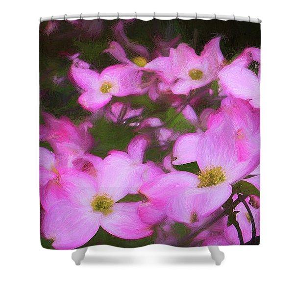 Pink Dogwood Flowers  Shower Curtain