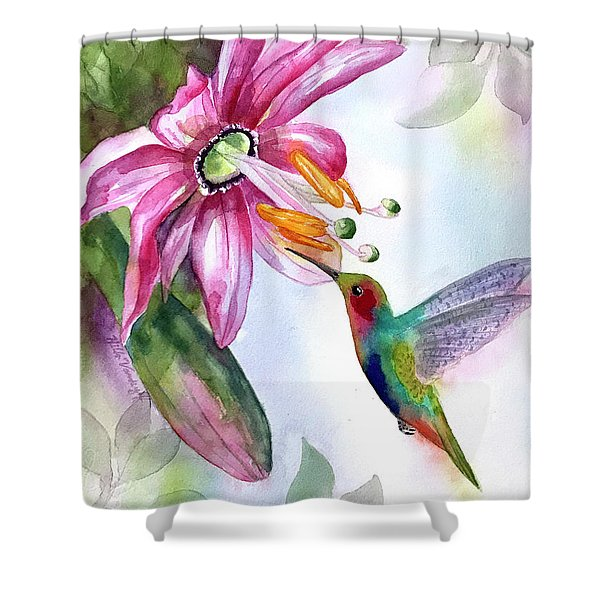 Pink Flower For Hummingbird Shower Curtain