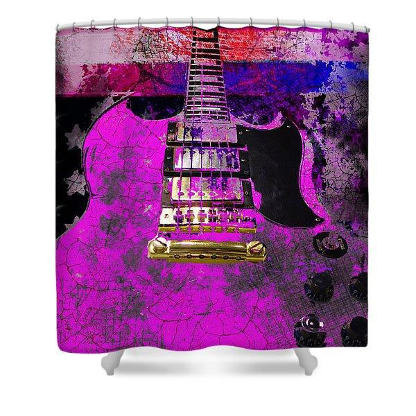 Pink Guitar Against American Flag Shower Curtain