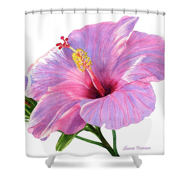 Pink Hibiscus Blossom With Blue Shadows Shower Curtain