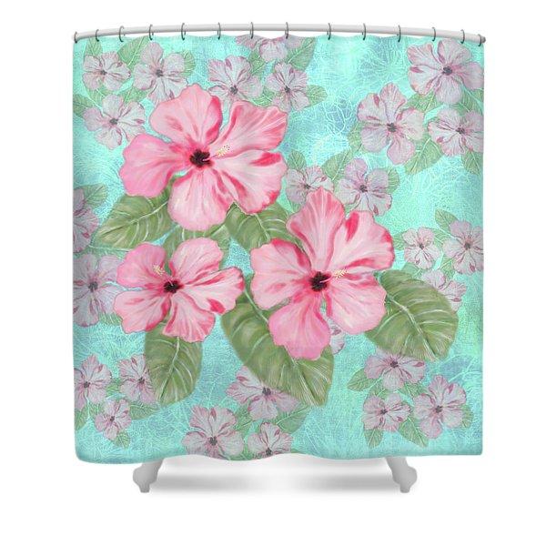 Pink Hibiscus Print On Aqua Shower Curtain