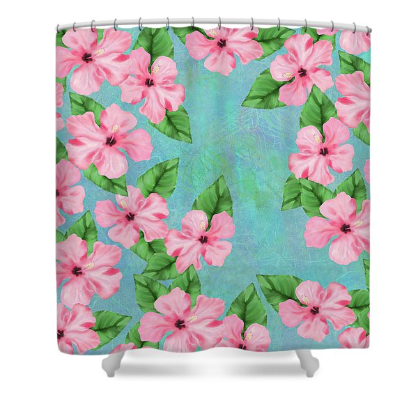Pink Hibiscus Tropical Floral Print Shower Curtain