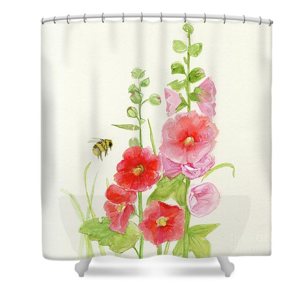 Pink Hollyhock Watercolor Shower Curtain