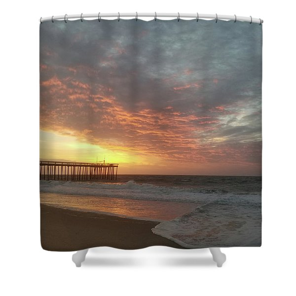 Pink Rippling Clouds At Sunrise Shower Curtain