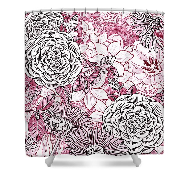 Pink Watercolor Botanical Flowers Garden Flowerbed II Shower Curtain