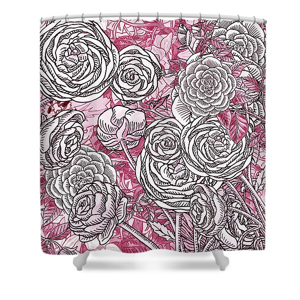 Pink Watercolor Botanical Flowers Garden Flowerbed V Shower Curtain