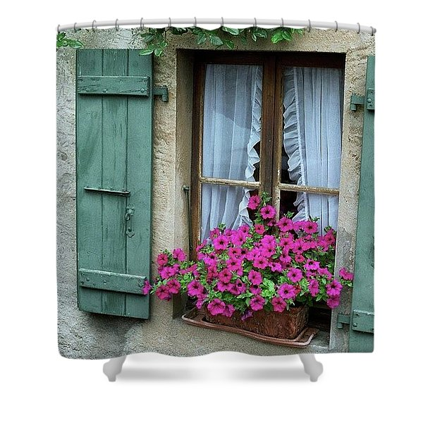 Pink Window Box Shower Curtain
