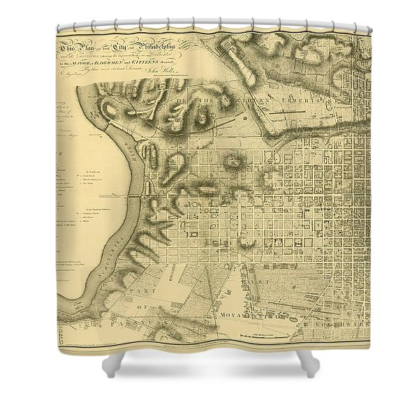 Plan Of The City Of Philadelphia And Its Environs Shewing The Improved Parts, 1796 Shower Curtain