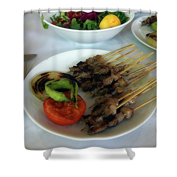Plate Of Kebabs And Salad For Lunch Shower Curtain