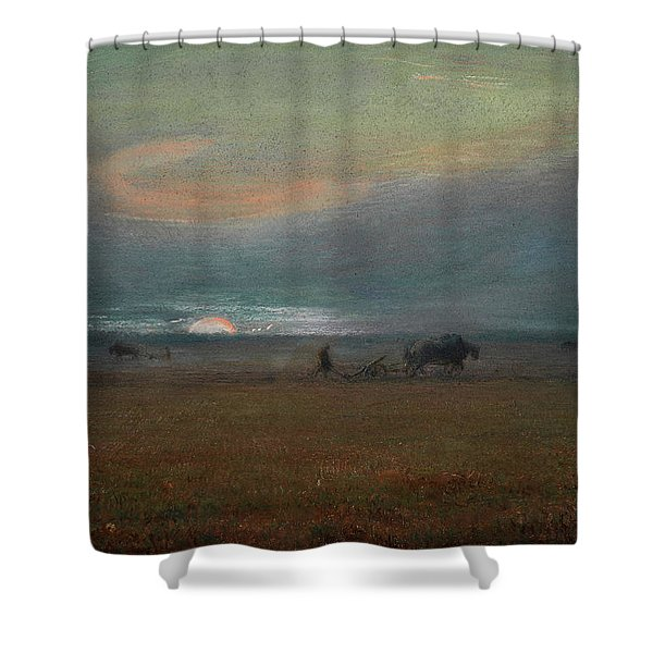 Ploughing At Sunset Shower Curtain