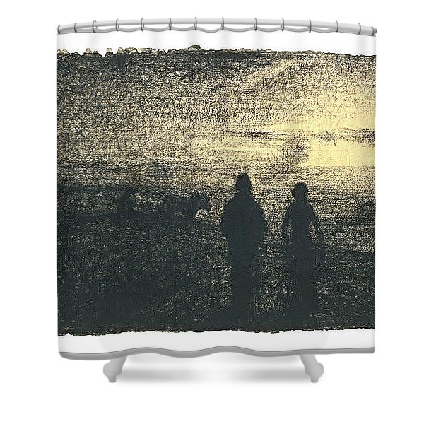 Ploughing-by-seurat Shower Curtain