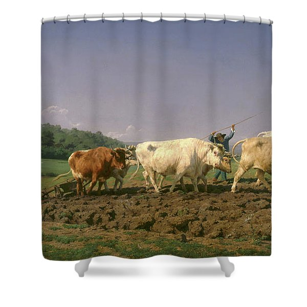 Ploughing In Nevers, 1849 Shower Curtain