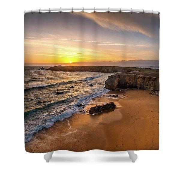 Pointe Du Percho And Port Blanc Shower Curtain