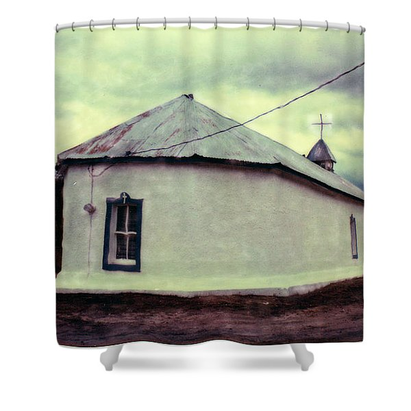 Shower Curtain featuring the photograph Polaroid Sx-70 Hand Manipulated 3 by Catherine Sobredo
