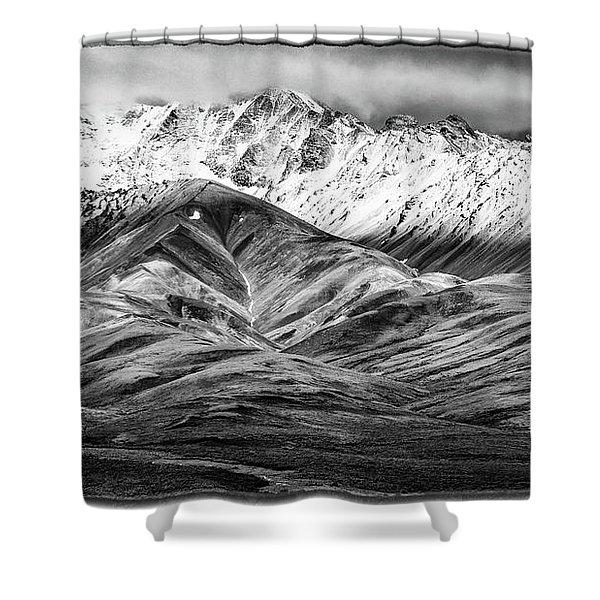 Polychrome Mountain, Denali National Park, Alaska, Bw Shower Curtain