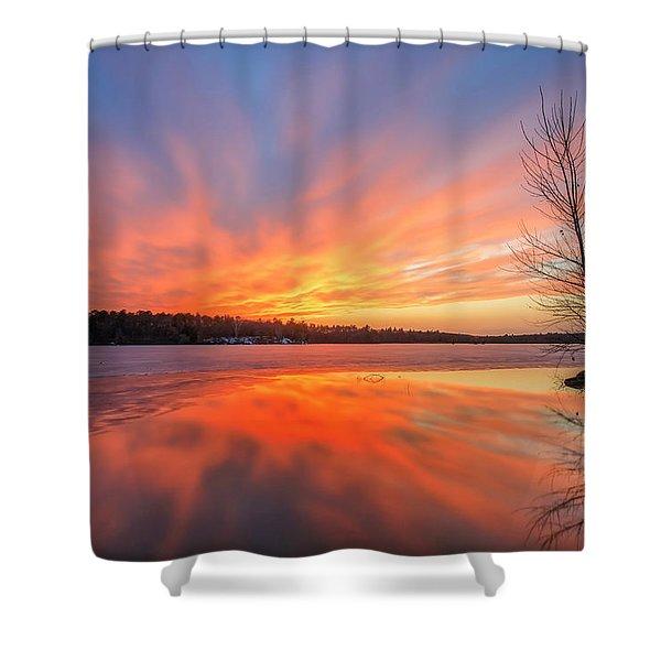 Pond Ablaze Shower Curtain